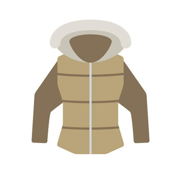 ベージュのダウンジャケット