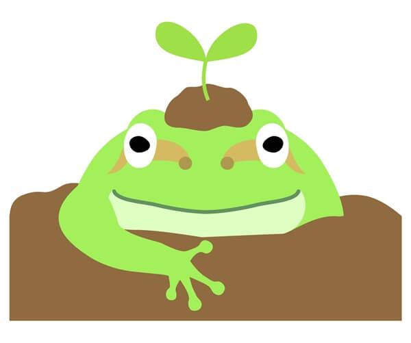 春に目覚めた蛙