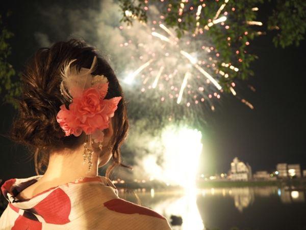 花火大会を見る浴衣の女性