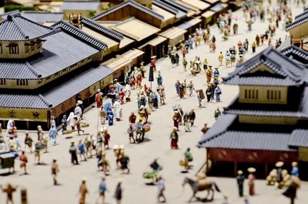江戸時代の町並みのミニチュア