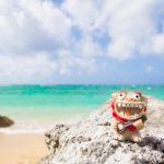 沖縄の海とシーサー