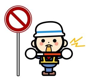 交通整理をする警備員