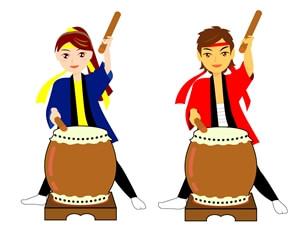 和太鼓を叩く男女