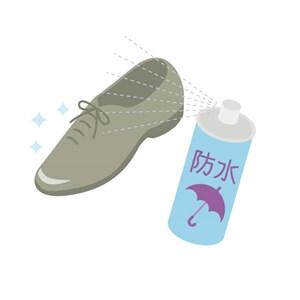 防水スプレーと革靴