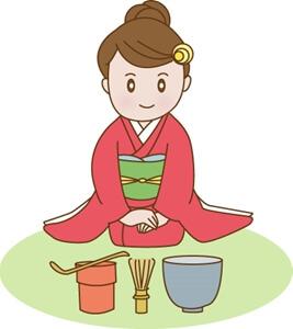 茶道と着物の女性