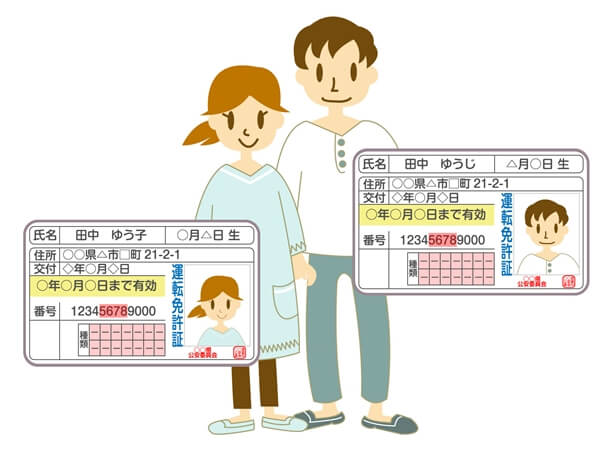 免許証を持つ男性と女性
