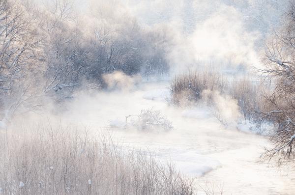 寒さで霧が立ち込める川